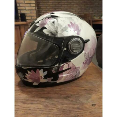 Scorpion motor helm rose bloemen