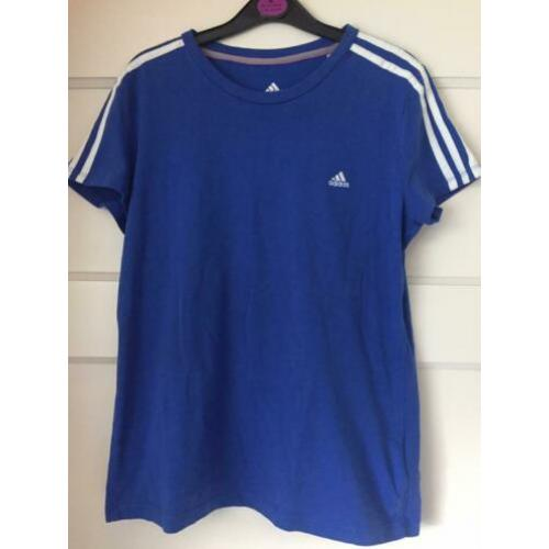 Adidas performance t-shirt top shirt blauw maat 38-40 sport